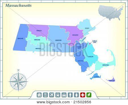 Estado de Massachusetts mapa con ayuda de la comunidad y activa los iconos ilustración Original
