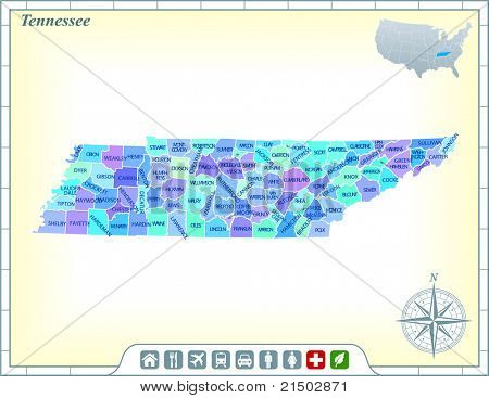 Tennessee State Map with Community Assistance and Activates Icons Original Illustration