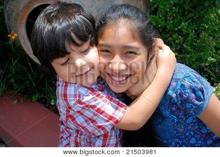 Adorable Hispanic siblings