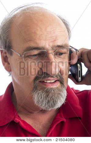 Mature Man Talking On A Cellphone
