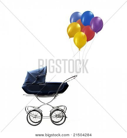Pram with balloons hanging on its handle