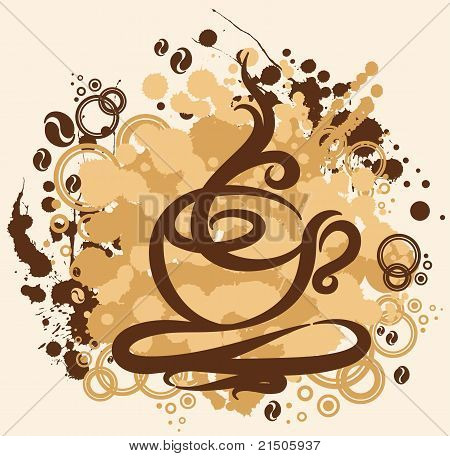 Illustration with abstract coffee cup