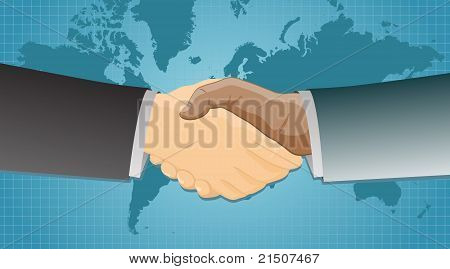 Handshake over a map of the world