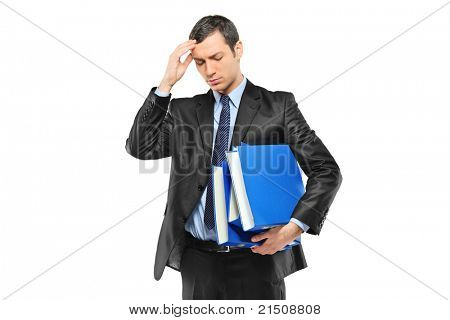 Businessperson holding his head in pain as a result of a headache isolated on white background
