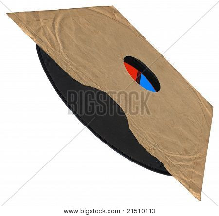 Vintage Envelope, Old Vinyl Record, Paper Texture, Clipping Path
