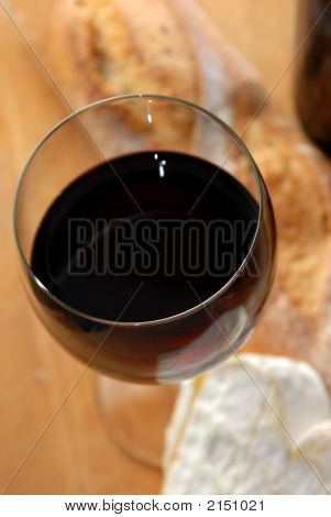 Close Up Of Wine With Cheese