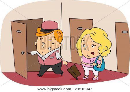 Illustration of a Bellboy at Work