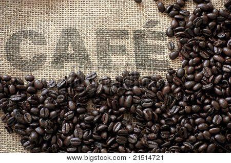 Coffee Beans on a 'Cafe' hessian sack
