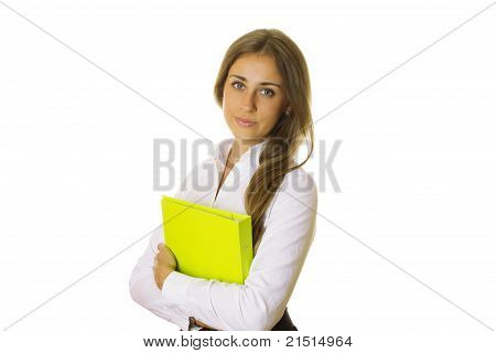Close-up Of Business Woman With Folder