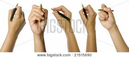 Set Of Hands Holding Pen
