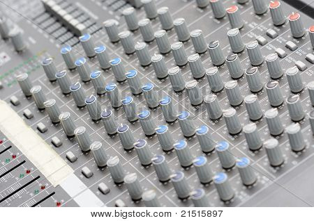 sound mixer with buttons and potentiometers