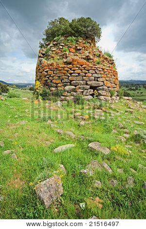 Nuraghe tower ruins and  Sardinia Sardegna Italy archeological remnants of prehistoric building of bronze age ancient civilization trourism