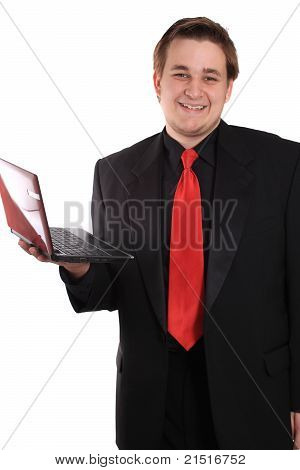 Man With Small Computer Laptop