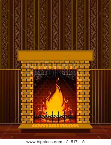 Cartoon stone fire-place with a christmas decorations