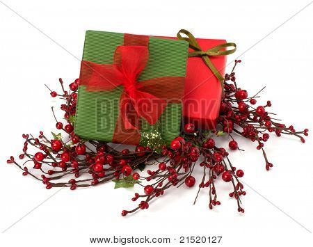 festive gift box stack isolated on white background