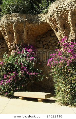 Stone Design Bench In Park Guell In Barcelona, Spain