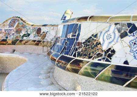 Barcelona - August 20:  Close Up Of Mosaic Bench In Park Guell On August 20, 2010 In Barselona, Spai