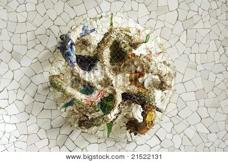 Mosaic Octopus On Ceiling In Park Guell, Barcelona, Spain