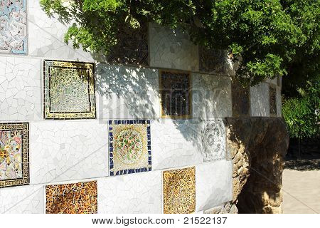 Mosaic Wall In Park Guell, Barcelona, Spain