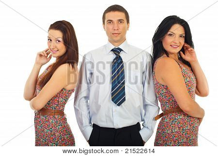 Man With Beauty Two Women