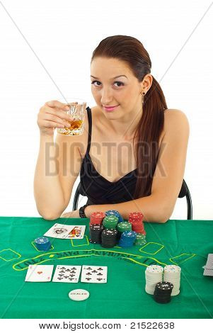 Casino Woman Holding Whiskey