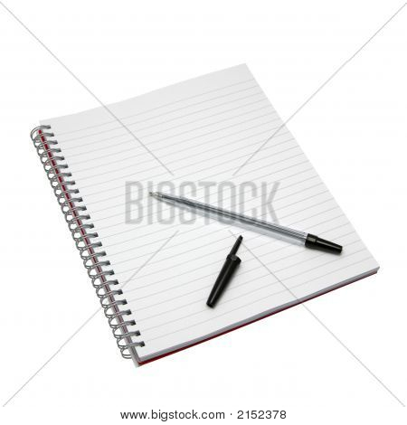 Blank Notebook And Pen.