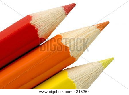 Red, Orange And Yellow Pencil Tips