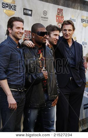"LOS ANGELES - JUN 5: Bradley Cooper, Quinton Jackson, Sharlto Copley, Liam Neeson at the Spike TV's 4th Annual ""Guys Choice Awards"" at Sony Studios in Culver City, Los Angeles, CA on June 5, 2010"