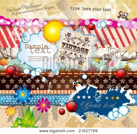 Vintage old style scrapbook paper with a lot of different old style design elements and textures with place for your text and images