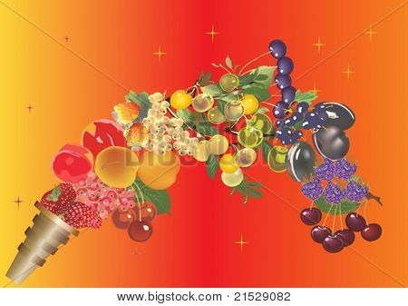 illustration with different fruits on bright background