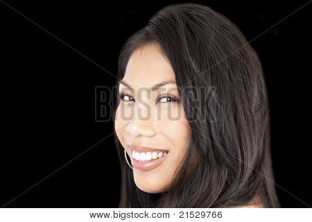 Young Attractive Pacific Island Woman Smiling Portrait