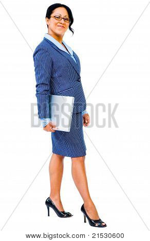 Mid Adult Businesswoman Holding Laptop