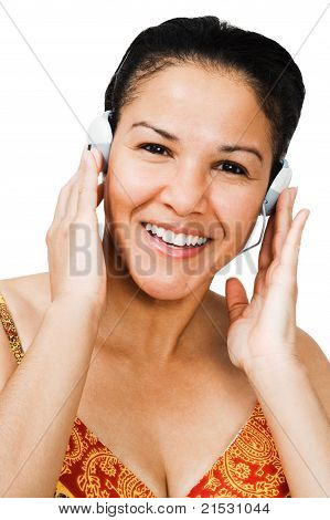 Portrait Of A Woman Listening Music