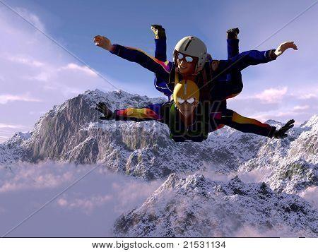 Sportsmen-parachutist soaring in sky