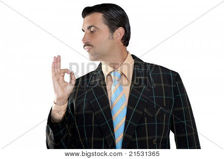 salesman occupation mustache man profile view with tacky suit and ok gesture in hand