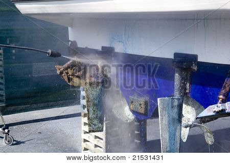 pressure washer cleaning boat hull barnacles anti-fouling and seaweed