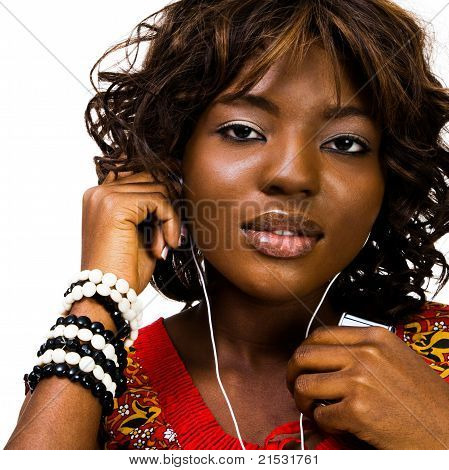 Smiling Woman Listening Music
