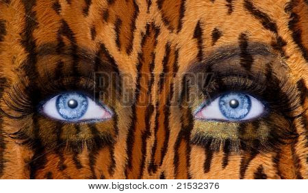 abstract blue woman eyes makeup with a leopard jaguar skin texture