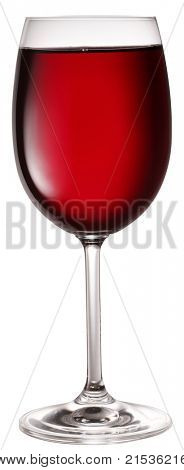 Glass of red wine isolated on a white background.