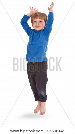 Happy Boy Jumping Over White Background