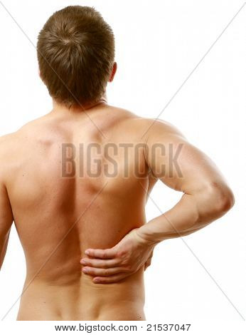 Young man with back pain. Isolated on white background