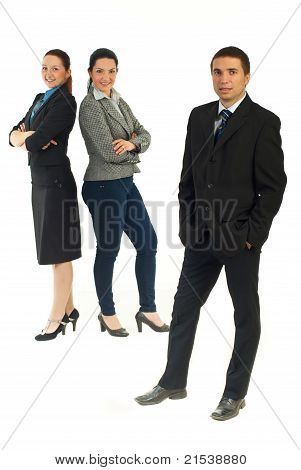 Business Man And Team Of Businesswomen