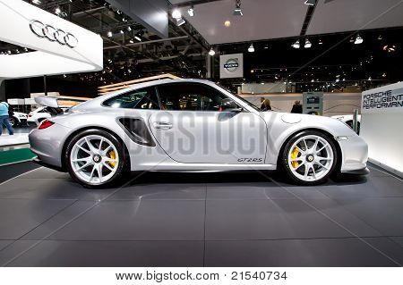 Moscow, Russia - August 25: Grey Sport Car Porsche  Gt 2 Rs At Moscow International Exhibition Inter