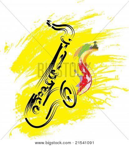 Vector Stylized Saxophone On Grunge Background