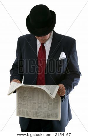 Stockbroker Reading The Paper.