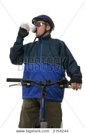 Mtb Rider Taking A Drink.