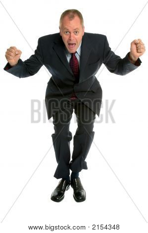Businessman Jumping For Joy.
