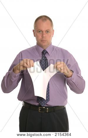 Businessman Tearing Up A Contract.