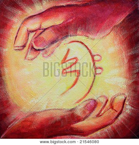 Reiki Healing Symbol And Healers Hands