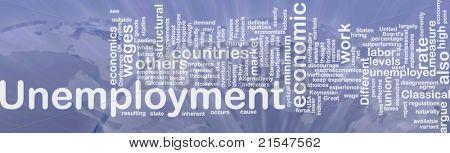 Word cloud concept illustration of unemployment work international